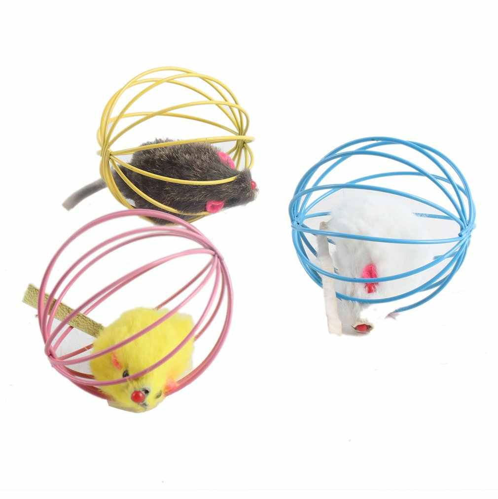Random Lovely Fun Gift Playing Toys False Mouse in Rat Cage Ball For Pet Cat Kitten Popular Funny Play Toys Mouse Ball Best Gift