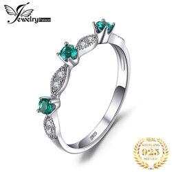Jewelrypalace criado nano anel de esmeralda 925 anéis de prata esterlina para as mulheres anéis de faixa de casamento prata 925 pedras preciosas jóias finas