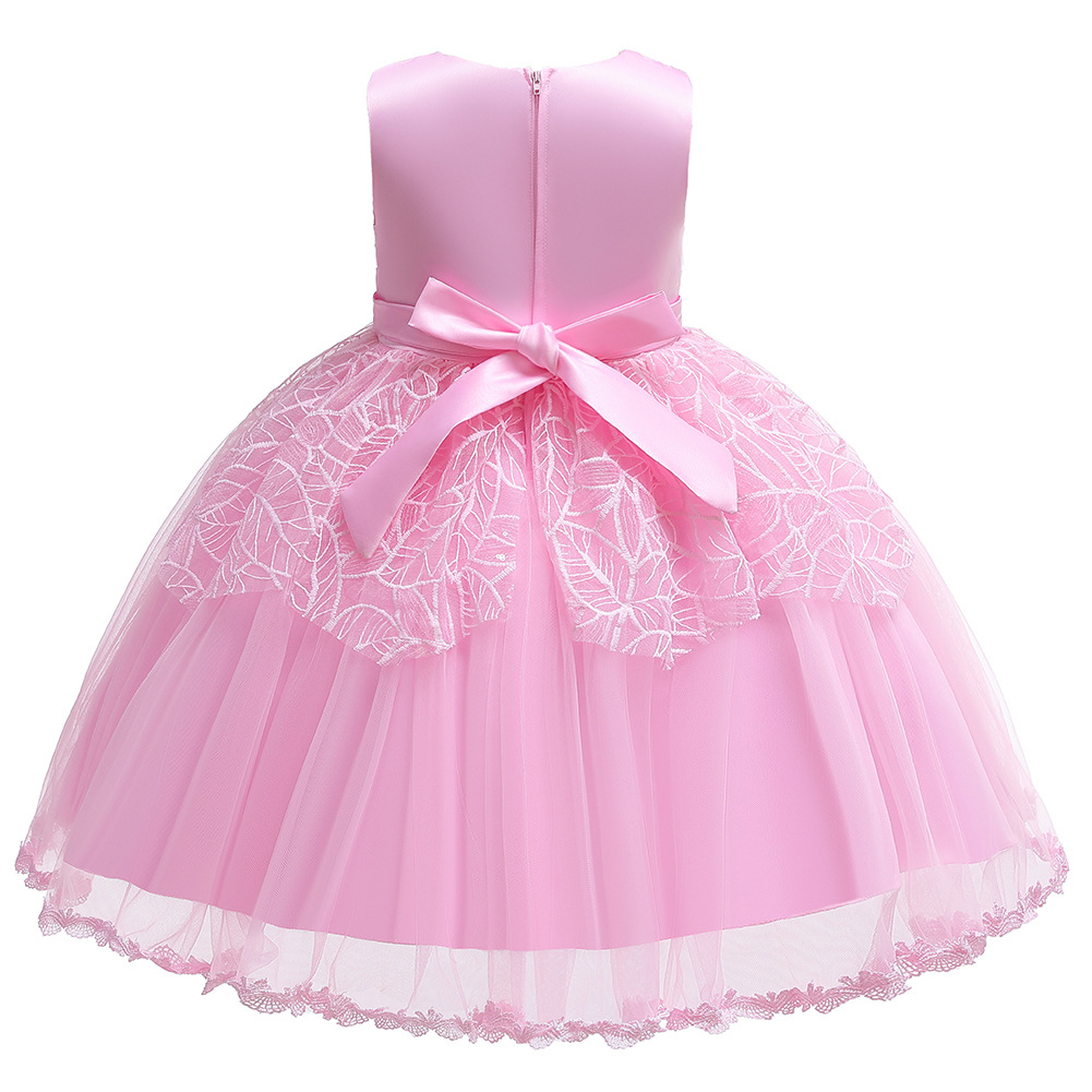 Sleeveless Sequin Girls Performance Dress Infants Child A Year Of Age Bow Gauze Puffy Princess Skirt