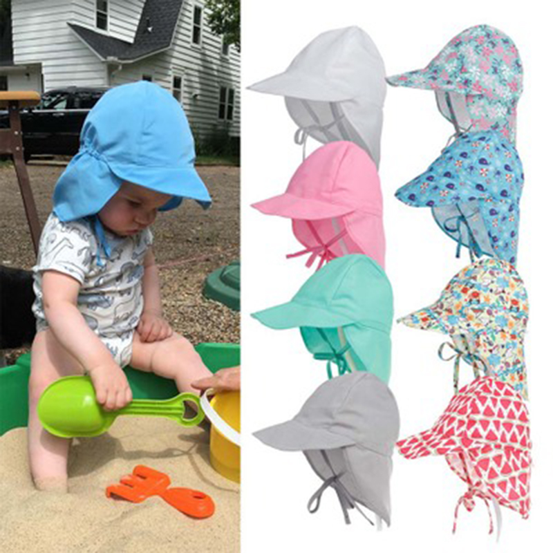 Baby Summer Sun Hat Children Outdoor Neck Ear Cover Anti UV Protection Beach Caps Kids Boy Girl Swimming Flap Caps for 0 5 Years|Hats & Caps| - AliExpress