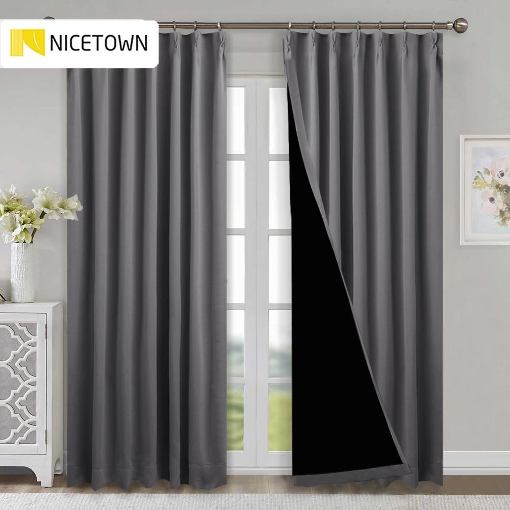 rideau en tissu occultant 100 bloc de lumiere avec œillets thermiques pour salon et chambre a coucher 1 piece