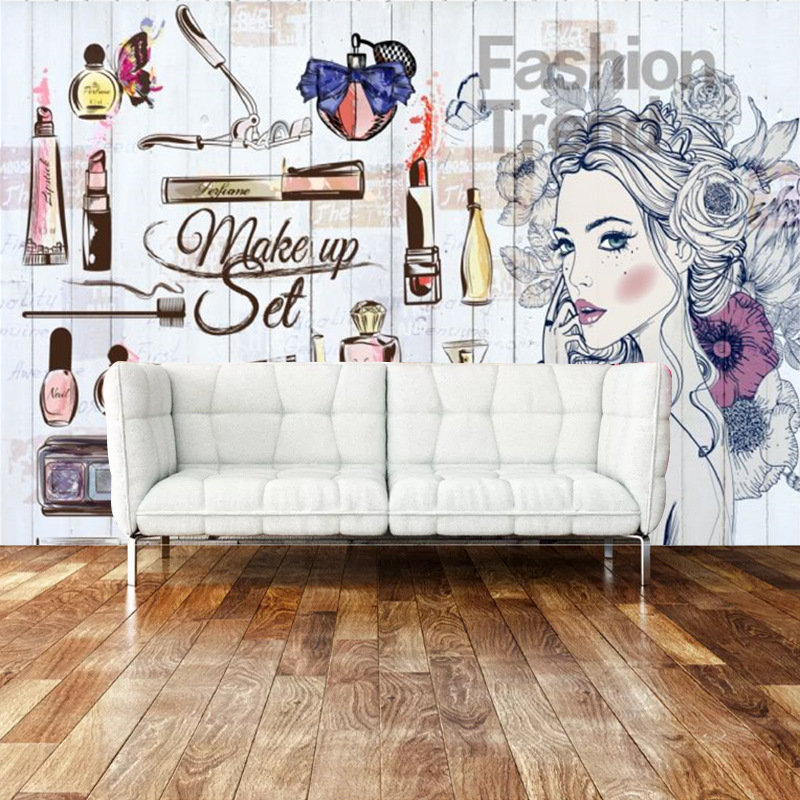 Fashion Nail Salons Wallpaper Beauty Salon Wallpaper Cosmetics Shop Wall Makeup Shop Nail Polish Watercolor 3D Mural