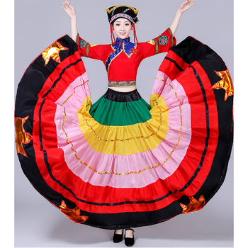 July Torch Festival Yi Colorful Colorful Swing Skirt Costumes National Dance Performance Costumes Opening Dance Skirts Women