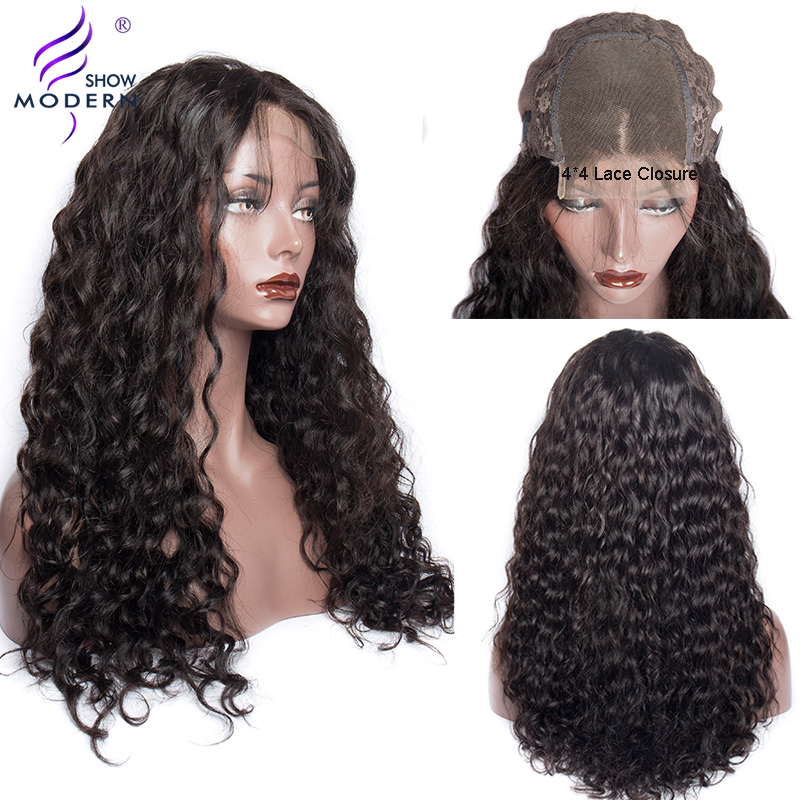 Modern Show Hair Water Wave Human Hair Wigs 4*4 Lace Closure Brazilian Remy Pre Plucked Natural Color Hair Wig For Black Women