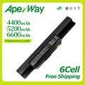 Apexway 6 cellules batterie d'ordinateur portable A32-K53 pour Asus A43 A43E A53S K43E K43U K43S K43SJ K53 K53T K53S K53SV X54 X54H X44H
