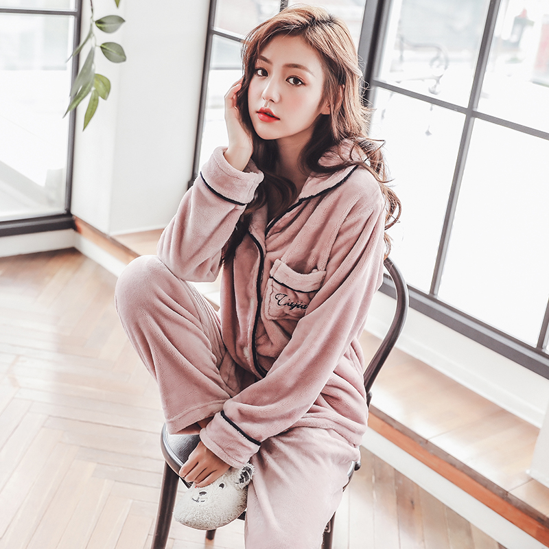 Plus Size 3XL 4XL 5XL Pyjamas women winter new Korean kawaii pink coral fleece warm pajama set thick flannel pijama home service 127
