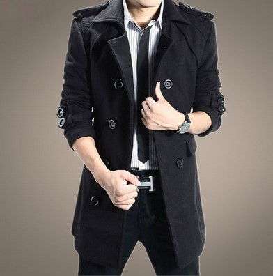 2019 Double Breasted Plus-sized Menswear Trench Coat Korean-style-Style Epaulet Slim Fit Overcoat Large Size Men'S Wear