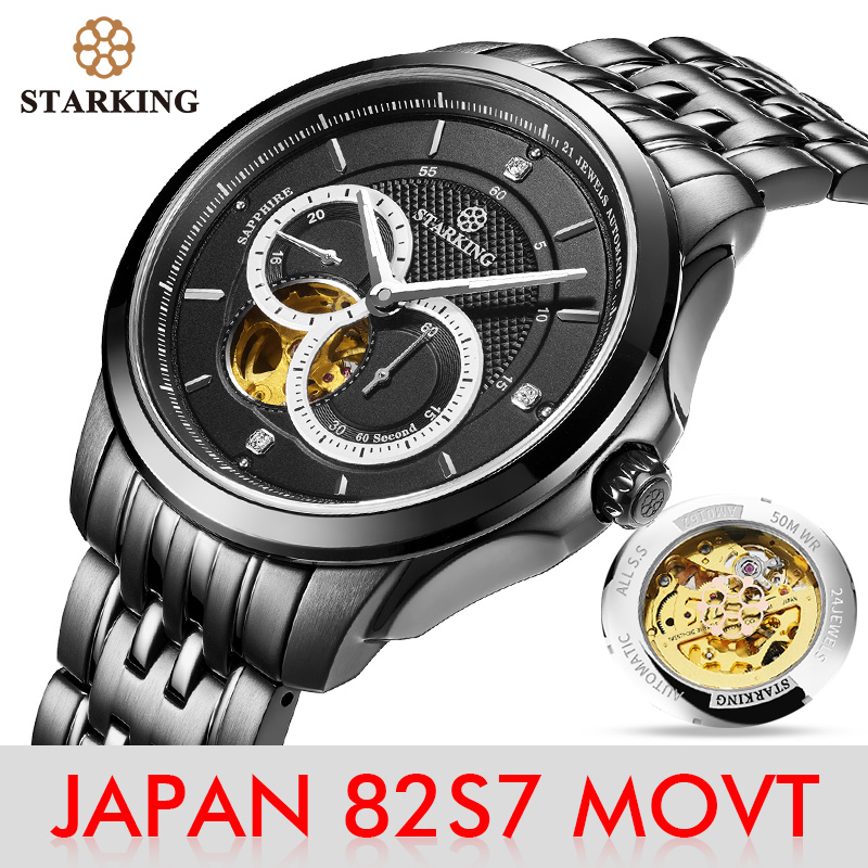 STARKING Watch Men MIYOTA 82S7 MOVT Stainless Steel Wristwatch Skeleton Mechanical Watch Luminous Hands Sapphire 50M Waterproof