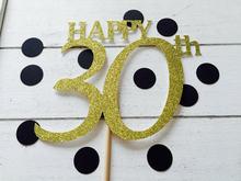 Feliz 30th aniversário bolo topper, 20th, 21st, 25th, 18th. Ouro ou prata bolo topper. Decorações de aniversário.