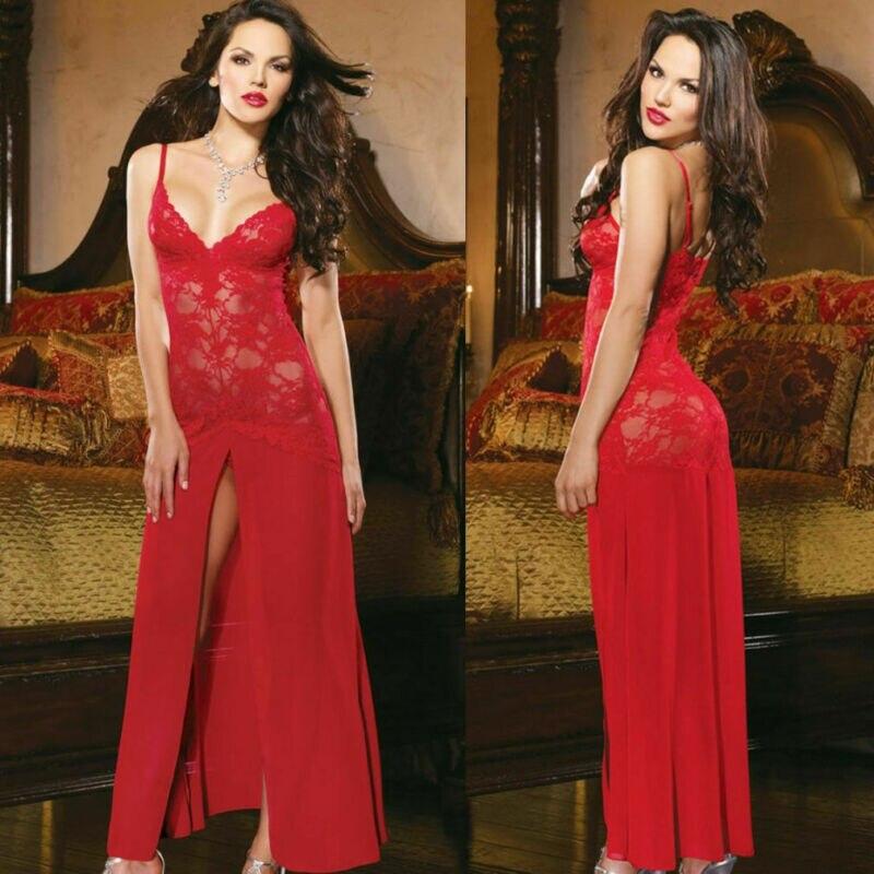 2019 Sexy Lingerie Women's Babydoll Teddy Sleeveless V Neck Long  Lace Nightgown Red White Sleepwear Nightwear Long Dress