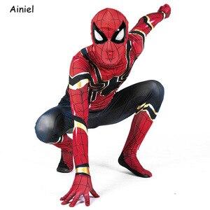 Image 5 - Ainiel, Железный Паук, карнавальный костюм, супергерой, костюм Zentai, комбинезон, спандекс, костюм, маска, вечерние костюмы на Хэллоуин для мальчиков