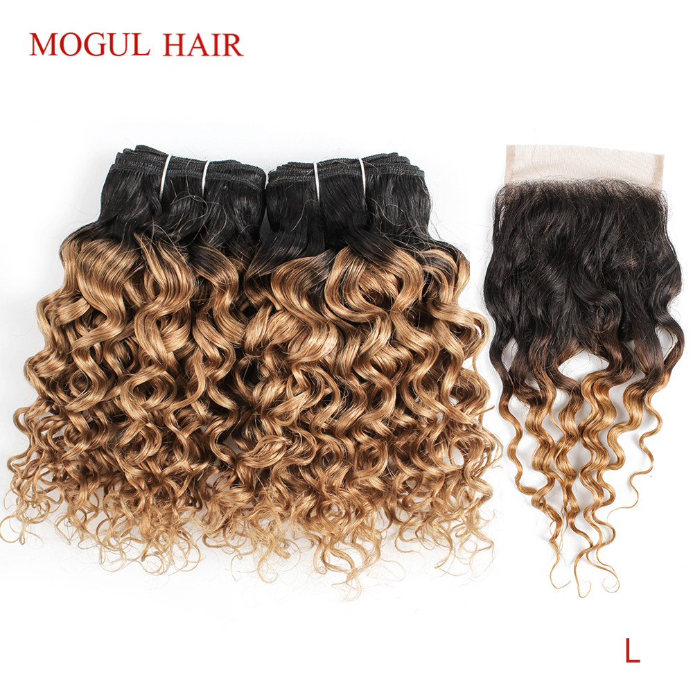 MOGUL HAIR 50g/pc 4/6 Bundles With Closure Water Wave Ombre Honey Blonde Brazilian Non-Remy Human Hair Brown Short Bob Style