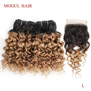 MOGUL HAIR 50g/pc 4/6 Bundles with Closure Water Wave Ombre Honey Blonde Brazilian Non-Remy Human Hair Brown Short Bob Style(China)