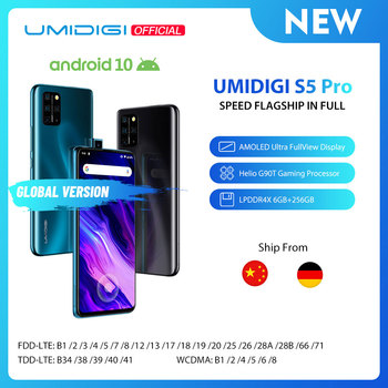 Перейти на Алиэкспресс и купить В наличии UMIDIGI S5 Pro Helio G90T игровой Процессор 6 ГБ 256 Гб Смартфон FHD + AMOLED Встроенный экран отпечаток пальца всплывающая селфи камера