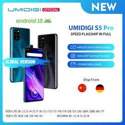Smartphone umidigi s5 pro 6gb + 256gb, celular em estoque, processador de jogos helio g90t, fhd + amoled câmera de selfie pop-up, impressão digital
