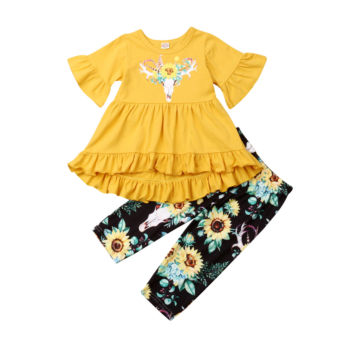 Boutique Toddler Kids Baby Girl Flower Top Dress Pants Legging Outfit Clothes