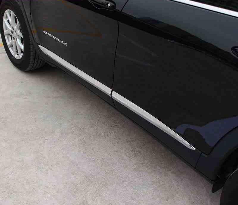 ABS Chrome Side qəlibləndirici qarnir örtüyü bəzəkli bədən dəstləri Jeep Cherokee 2014 üçün Avtomobil Üslubu Aksesuarları 15 16