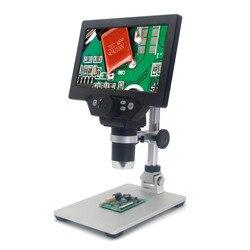 Büyük boy G1200 elektronik dijital mikroskop 12MP 7 inç büyük taban lcd ekran 1-1200X sürekli amplifikasyon büyüteç aracı
