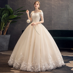 Image 3 - קלאסי שמפניה 2019 חדש חתונת שמלה אלגנטי סירת צוואר כבוי כתף תחרה ואגלי טאסל Slim כדור שמלת חלוק דה mariee
