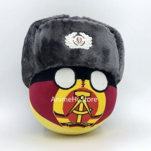 Countryball DDR Ball Doll and NVA Army winter hat Cosplay Polandball Plush Toy for Gift 20CM
