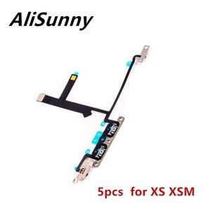 Image 1 - AliSunny 5 sztuk Volume Flex Cable dla iPhone XS max X XSM On Off sterowanie przełącznikiem z metalowymi wspornikami części zamienne