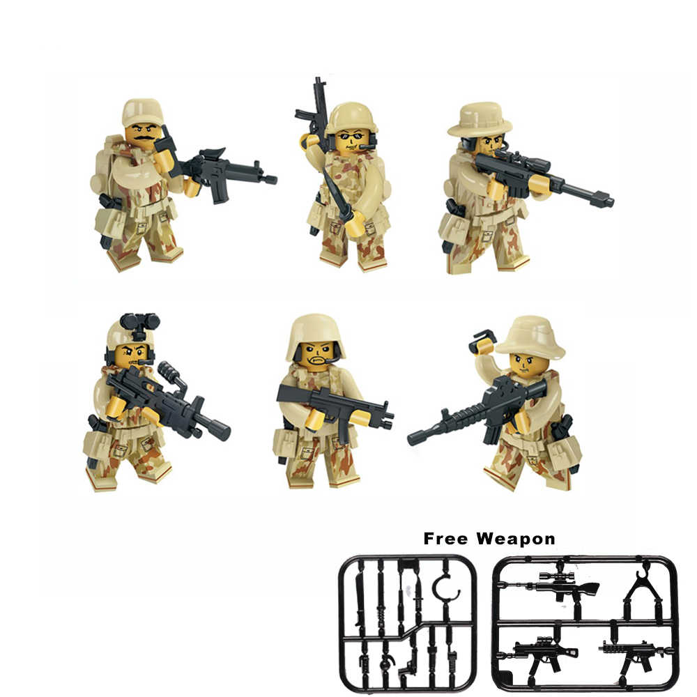 6pcs/Set Military Figures Special Forces Building Blocks City CS Commando WW2 Army Soldiers With Weapon Gun Blocks legoed Toy