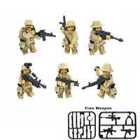 6 pz/set Militare Figures Forze Speciali Blocchi di Costruzione della Città CS Commando WW2 Soldati Dell'esercito Con Arma Pistola Blocchi legoed Giocattolo