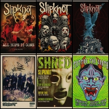 Comprar tres para enviar un Slipknot heavy metal poster rock band poster cartel de papel Kraft pub vintage pegatina de pared decorativa pintura