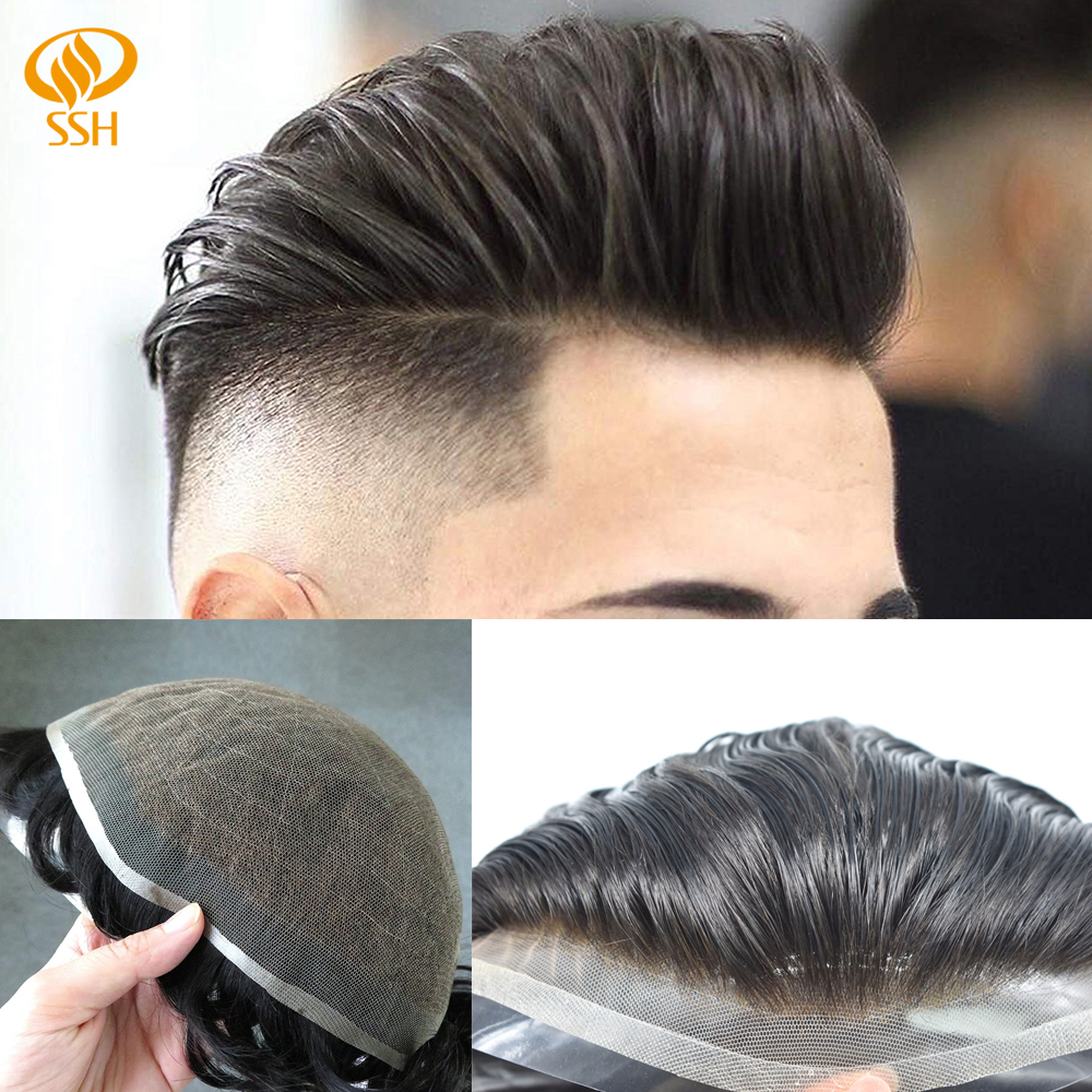 Man Wig Full French Lace Men's Hairpiece India Remy Human Hair Bleached Knots Breathable Hair Replacement System Men Hair Toupee