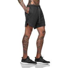 Мужские шорты для бега 2 в 1, спортивные шорты для бега, фитнеса, быстросохнущие дышащие спортивные шорты для тренажерного зала, шорты со встроенными карманами, Новинка