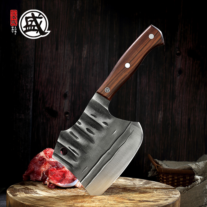 MITSUMOTO SAKARI Air Hammer Forged Camping Survival Axe 5cr15mov Stainless steel kitchen butcher's knife with ebony handle