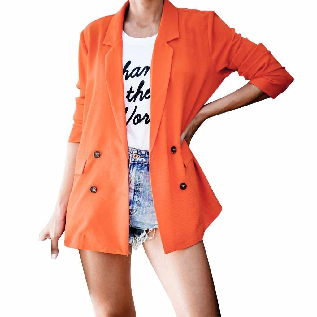 Feitong ミニマリストスタイルジャケットレディース orange ブレザーシャーリング長袖オープンフロントフィットオフィスカーディガンオフィスレディースジャケット