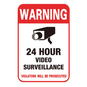 24 Hour Video Camera System Warning Sign Self-adhesive Wall Stickers Surveillance Monitor Public Area Security Camera Sticker