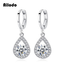 Ailodo Waterdrop Crystal Jewelry Long Silver Color Dangle Earrings Brincos Pendiente For Women Gifts Boucle Doreille LD258