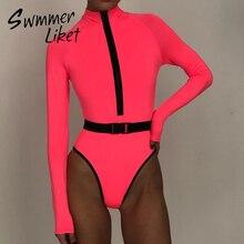 แขนยาวOne Pieceชุดว่ายน้ำผู้หญิงเซ็กซี่ชุดว่ายน้ำนีออนหญิงซิปMonokiniชุดว่ายน้ำคอสูงชุดว่ายน้ำBodysuit 2020 ฤดูร้อน