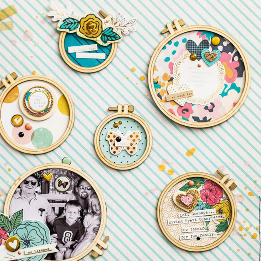 QITAI 24PCS/SET Plywood Embroidery Hoops Circle Frame Wooden Crafts Wedding Party Gift DIY Scrapbooking Home Decoration Wf236