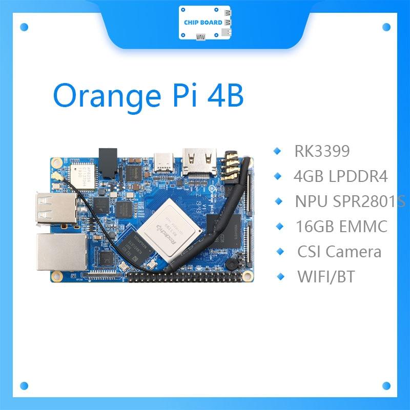 Orange Pi 4B 4 Гб DDR4 + 16 Гб EMMC Flash Rockchip RK3399 с поддержкой NPU SPR2801S Android Ubuntu Debian
