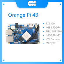 Alaranjado pi 4b 4gb ddr4 + 16gb emmc flash rockchip rk3399 com npu spr2801s apoio android ubuntu debian