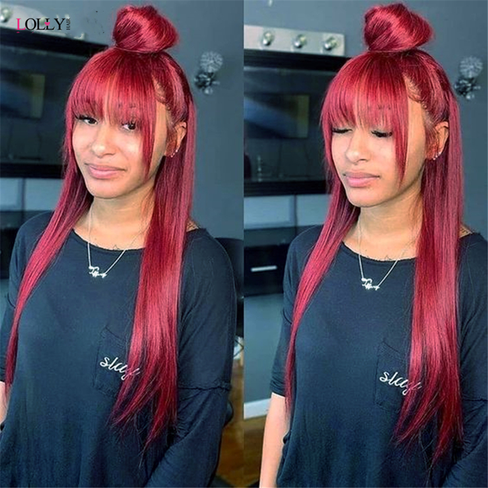 Malaysian Ginger Orange Straight Wig With Bangs 10