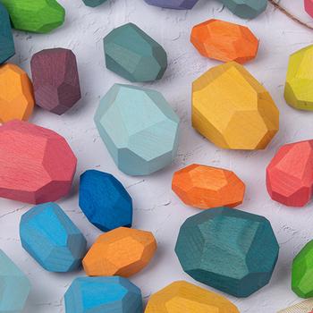 21 sztuk drewniane kamienie kamienie Tumi Ishi drewno równoważenie ułożone kamienie RAINBOW zestaw kolorowe GemsBaby klocki do budowy zabawki Montessori tanie i dobre opinie Sungpunet CN (pochodzenie) Kieszeń Multi Tools Wooden rock blocks Colorful 1 3x1 95inch 1x1 57inch