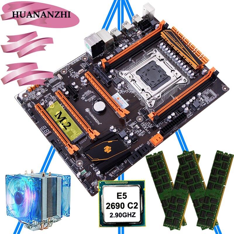 Huananzhi deluxe x79 lga2011 placa-mãe com m.2 nvme slot cpu xeon e5 2690 c2 2.9 ghz com refrigerador ram 32g (4*8g) reg ecc