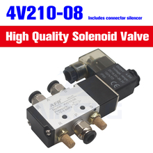 4v210-08 air valve Single Coil 2 Position 5 Way Pneumatic valve Air Solenoid Valve 12V 24V 110V 220V electric valve magnet valve good quality npt1 4 ac 220v 2 way 2 position pneumatic electric solenoid valve water air oil