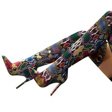 New Women Over The Knee Boots Sexy Thin High Snake Print Stretch Fabrics Boots High Heel Slip On Shoes Pointed Toe Long Boots(China)