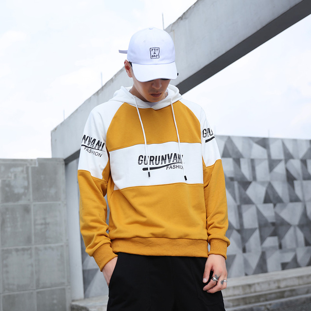 Men Streetwear Hooded Hoodies 2020 Spring Mens Hip Hop Harajuku Sweatshirts Man Korean Fashion Patchwork Letter Print Hoodie INS