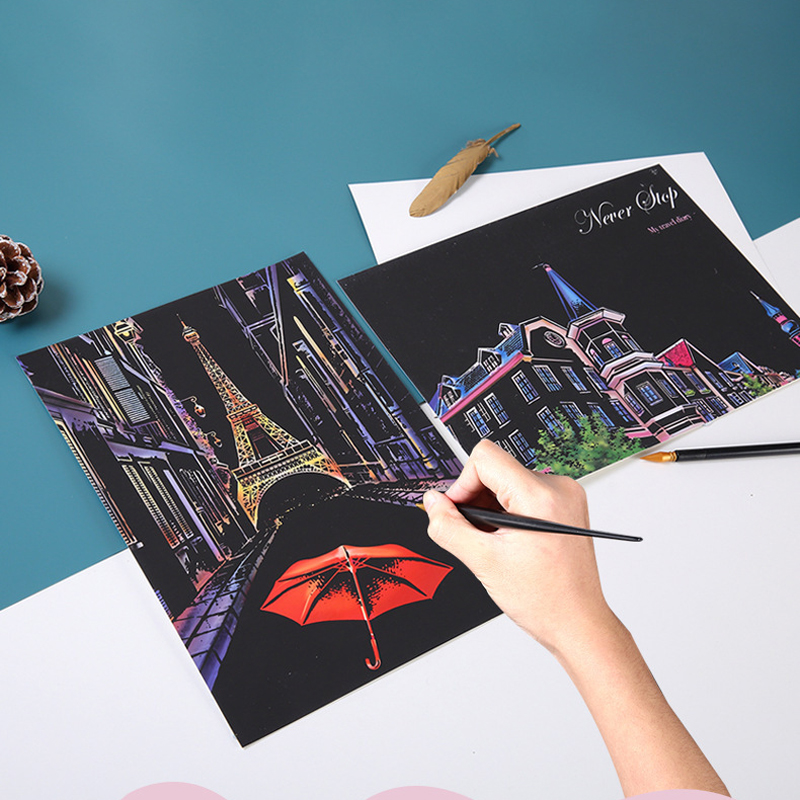 4pcs/set Magic Scratch Art Painting Paper With Drawing Stick Kids Toy Baby Educational Toys DIY Drawing Toy For Boys Girls Gifts