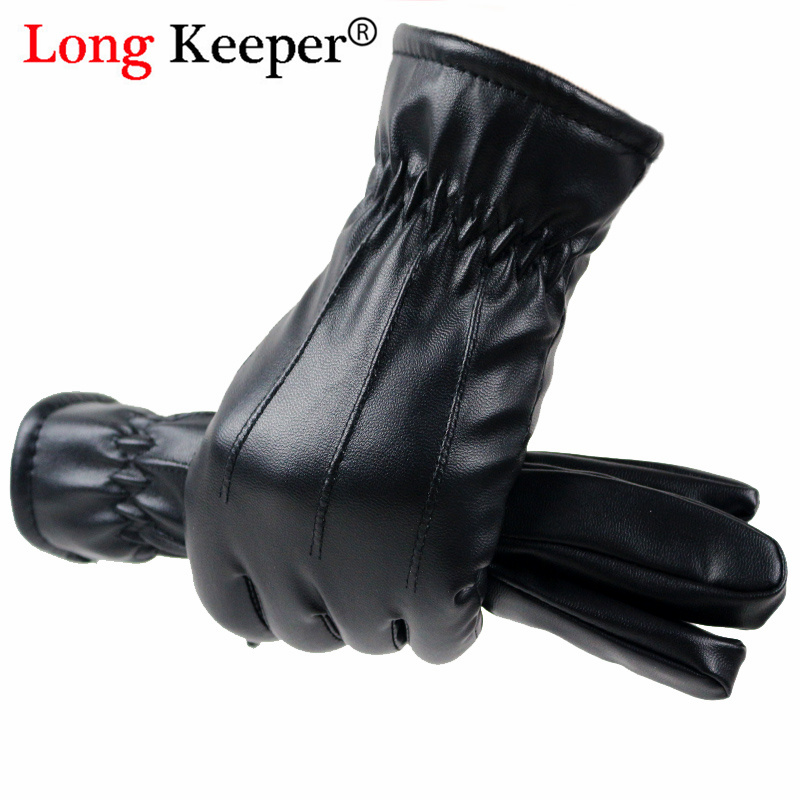 Longkeeper Autumn Winter PU Leather Gloves Women Men Waterproof Full Finger Gloves Cycling Driver's Warm Guantes Luvas