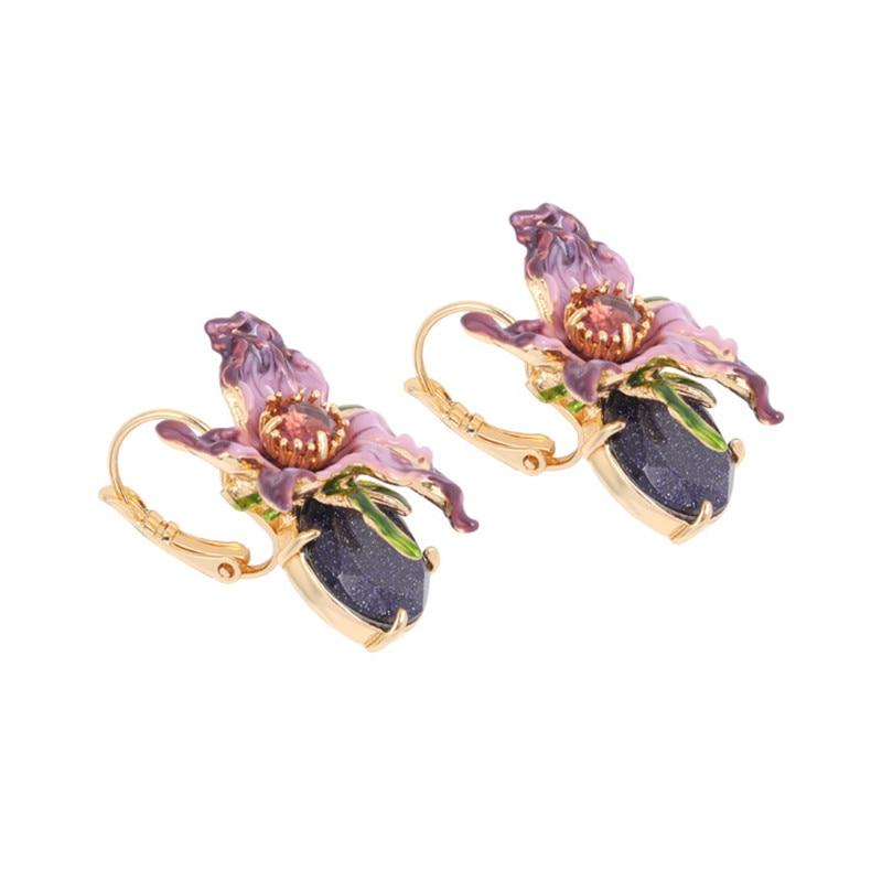 European and American new fashion exaggerated skull series enamel glaze purple flower ear hook ear clip ladies wild earrings