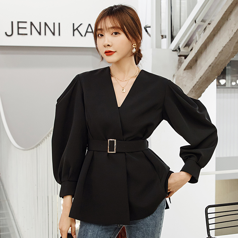 YIGELILA Spring High Quality Black Coats V-neck Lantern Sleeves With Belt Coats Solid Long Sleeves Office Lady Coats 91011