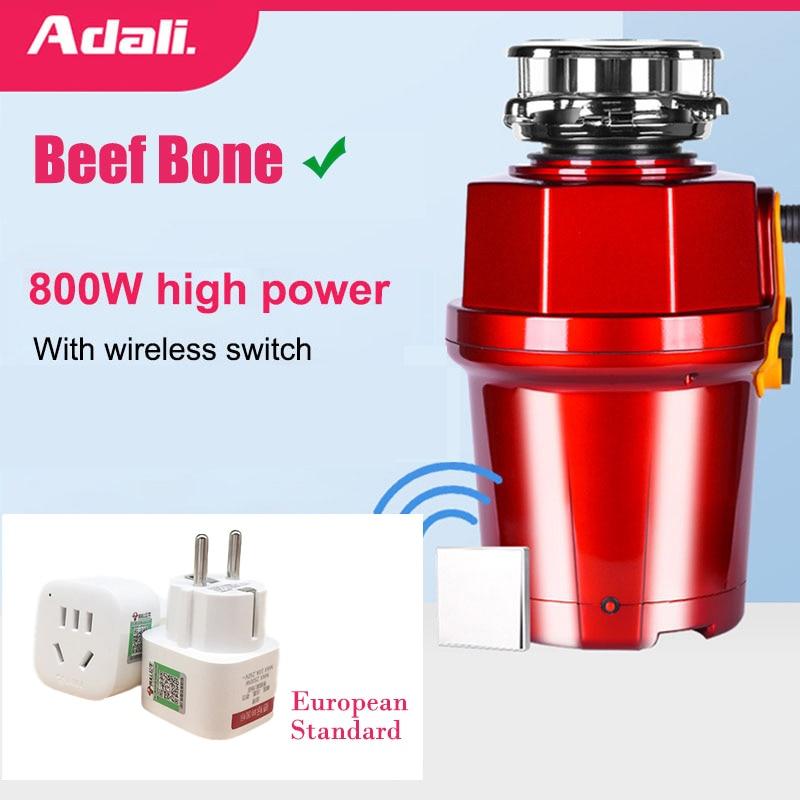 ADALI 800W Food Waste Disposer Wireless Switch Disposal Crusher High Power Food Garbage Processor Bone Grinder kitchen appliance