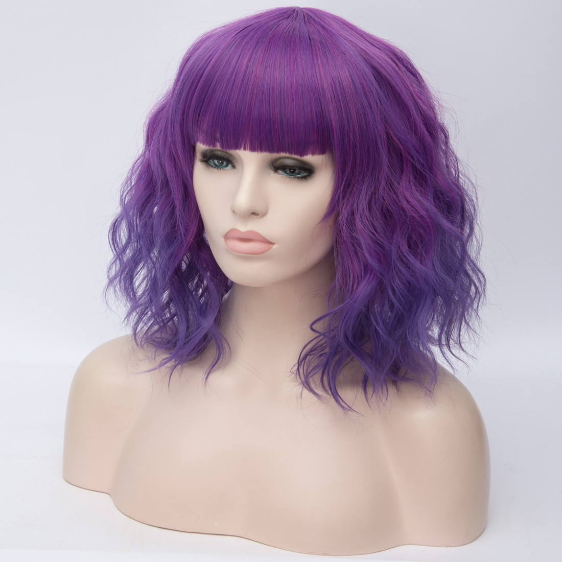 Ha2a172a87c88436a9fe297ede79adbddM - Similler Short Synthetic Wig for Women Cosplay Curly Hair Heat Resistance Ombre Color Blue Purple Pink Green Orange Two Tones